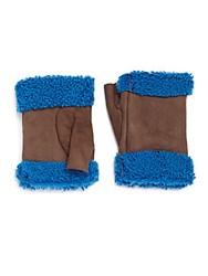 Saks Fifth Avenue Fingerless Shearling Trimmed Leather Gloves Tan