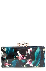 Ted Baker Floral Print Patent Leather Matinee Wallet Dark Blue