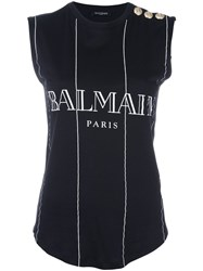 Balmain Striped Logo Tank Top Black