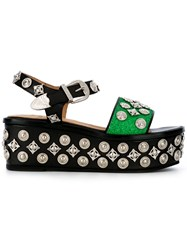 Toga Pulla Metallic Embellished Sandals Black