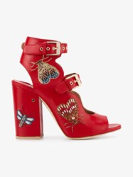 Laurence Dacade Nellen Butterfly Embellished Sandals Red