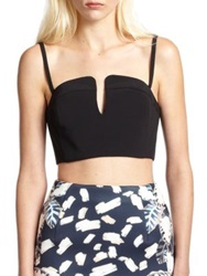 Opening Ceremony Court Notched Crepe Cropped Bustier Black
