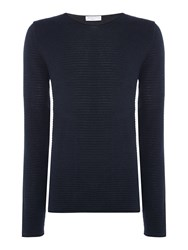 Selected Men's Homme Textured Knit Long Sleeve Cotton Jumper Navy