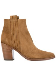 Sartore Mid Heel Ankle Boots Women Leather Suede 39.5 Nude Neutrals