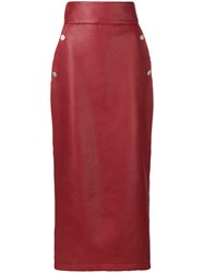 Sara Battaglia High Waisted Pencil Skirt Red