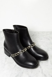 Forever 21 Chained Faux Leather Booties Black