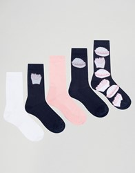 Asos Sports Style Socks With Fast Food Design 5 Pack Multi