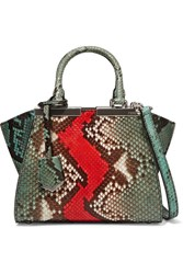 Fendi 3Jours Small Python And Leather Tote Snake Print