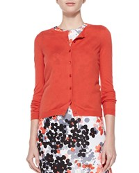 Red Valentino Cashmere Silk Cropped Cardigan Orange