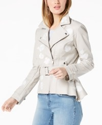 Inc International Concepts I.N.C. Embroidered Faux Leather Moto Jacket Created For Macy's Fresh Cement