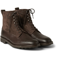 Edward Green Galway Shearling Lined Pebble Grain Leather And Suede Boots