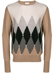 Ballantyne Argyle Knit Sweater Nude And Neutrals
