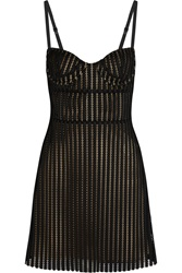 Just Cavalli Striped Honeycomb Mesh And Jersey Mini Dress