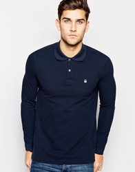 United Colors Of Benetton Long Sleeve Pique Polo In Slim Fit Navy06u