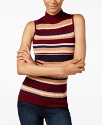 It's Our Time Juniors' Striped Mock Neck Sweater Vino Mood Indigo