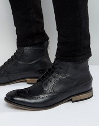 Asos Brogue Boots In Black Leather With Natural Sole Black