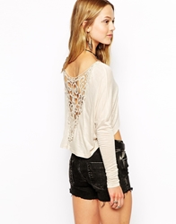 Kiss The Sky Crop Top With Crochet Back Cream