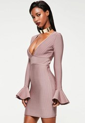 Missguided Pink Flare Sleeve Bandage Bodycon Dress Mauve