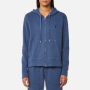 Ralph Lauren Women's Hooded Full Zip Sweatshirt Shale Blue Heather