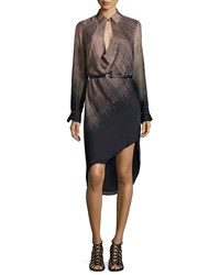 Halston Long Sleeve Belted Ombre Dress Nutmeg Fringe