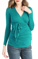 Lilac Clothing Faux Wrap Maternity Nursing Top Jade