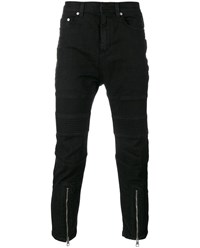 Neil Barrett Cropped Biker Jeans Black Silver Grey White