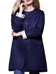 Yumi Floral Lace Coat Dark Navy