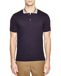 Marc Jacobs Metallic Collar Slim Fit Polo Shirt Navy