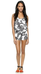 J.O.A. Tropical Safari Romper Black White