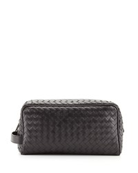 Woven Leather Dopp Kit Black Bottega Veneta