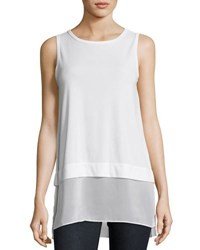 Joan Vass Sleeveless Mixed Media Top Black