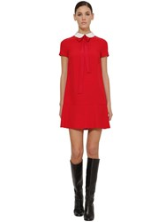 Red Valentino Crepe Envers Satin Mini Dress W Bow Red