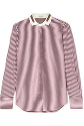 Brunello Cucinelli Bead Embellished Stretch Silk Trimmed Striped Cotton Shirt Red