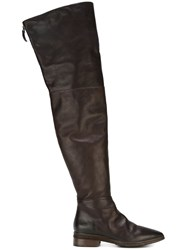 Marsell Knee Height Zip Boots Brown