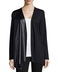 Lafayette 148 New York Relaxed Waterfall Jacket With Leatherette Panel