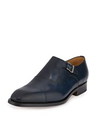 Magnanni For Neiman Marcus Monk Strap Leather Cap Toe Loafer Blue