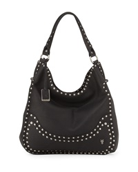 Nikki Nailhead Flap Hobo Bag Black Frye
