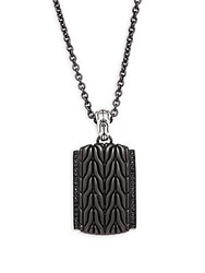 John Hardy Sterling Silver Chain And Dog Tag Pendant Black