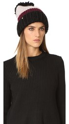 Kate Spade Chunky Knit Colorblock Beanie Midnight Wine