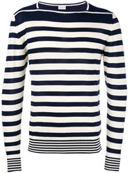 Moncler Striped Long Sleeve Sweater White