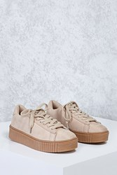 Forever 21 Faux Suede Flatform Sneakers Nude