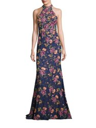 Jovani Prom Embroidered Floral Lace Gown Navy Multi