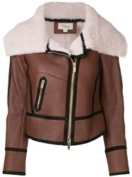 Temperley London Eileen Aviator Jacket Brown