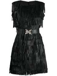 Class Roberto Cavalli Fringed Mini Dress Black