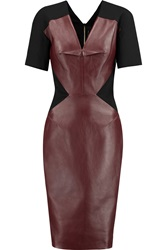 Roland Mouret Nabis Leather And Crepe Dress Red