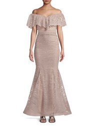 Nicole Bakti Off Shoulder Sequined Ruffle Gown Lilac