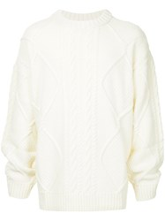 Juun.J Oversized Cable Knit Jumper White
