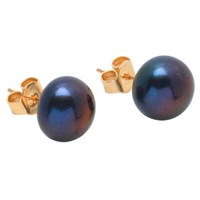 A B Davis 9Ct Yellow Gold Freshwater Pearl Bouton Stud Earrings Peacock