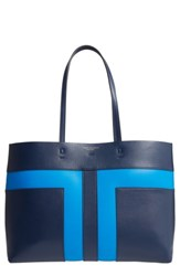 Tory Burch Block T Leather Tote Blue Royal Navy Galleria Blue