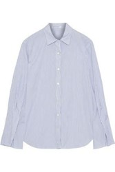 Stateside Woman Fluted Striped Cotton Broadcloth Shirt White